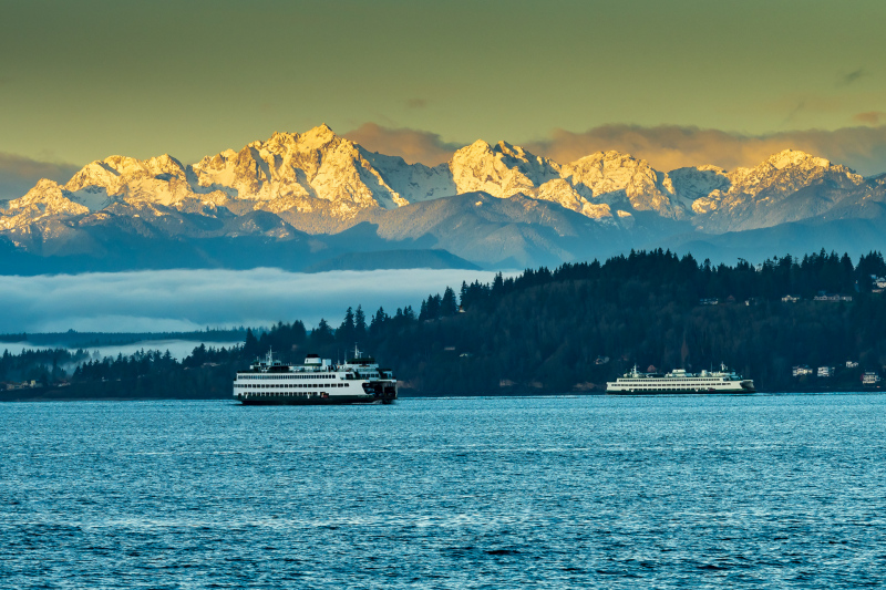 Edmonds Waterfront and Olympic Mountains