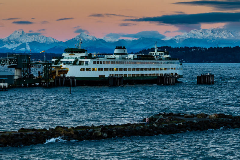 Snow Covered Olympic Mountains with Puget Sound and Ferry