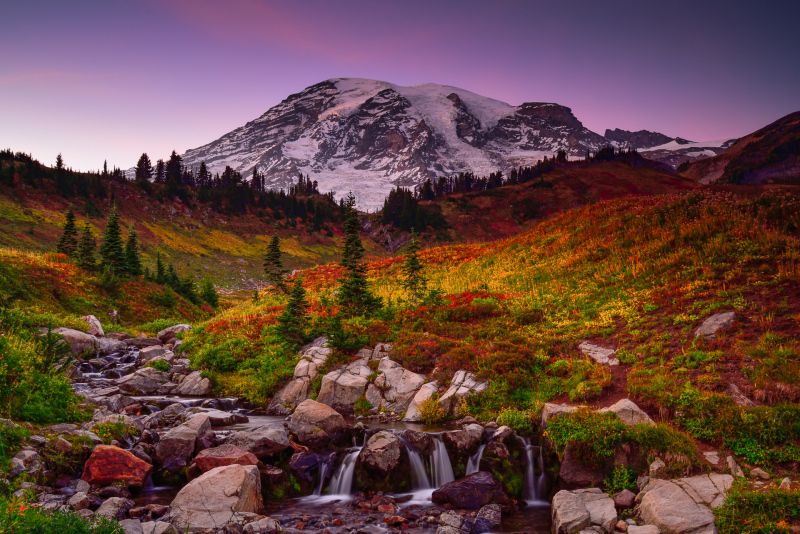 Mount Rainier Sunset and Edith Creek