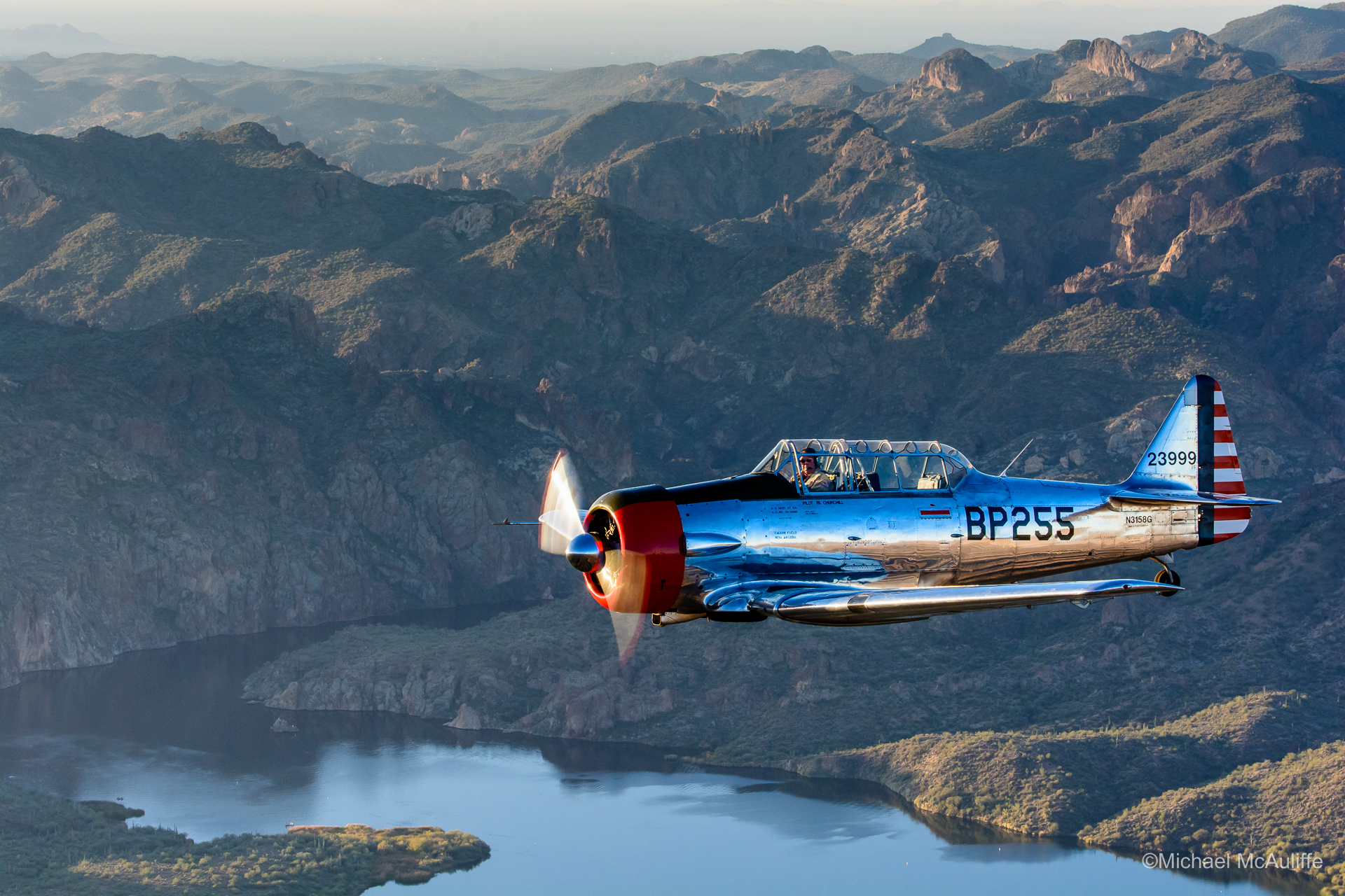 An AT-6 Texan flying near Mesa, Arizona.