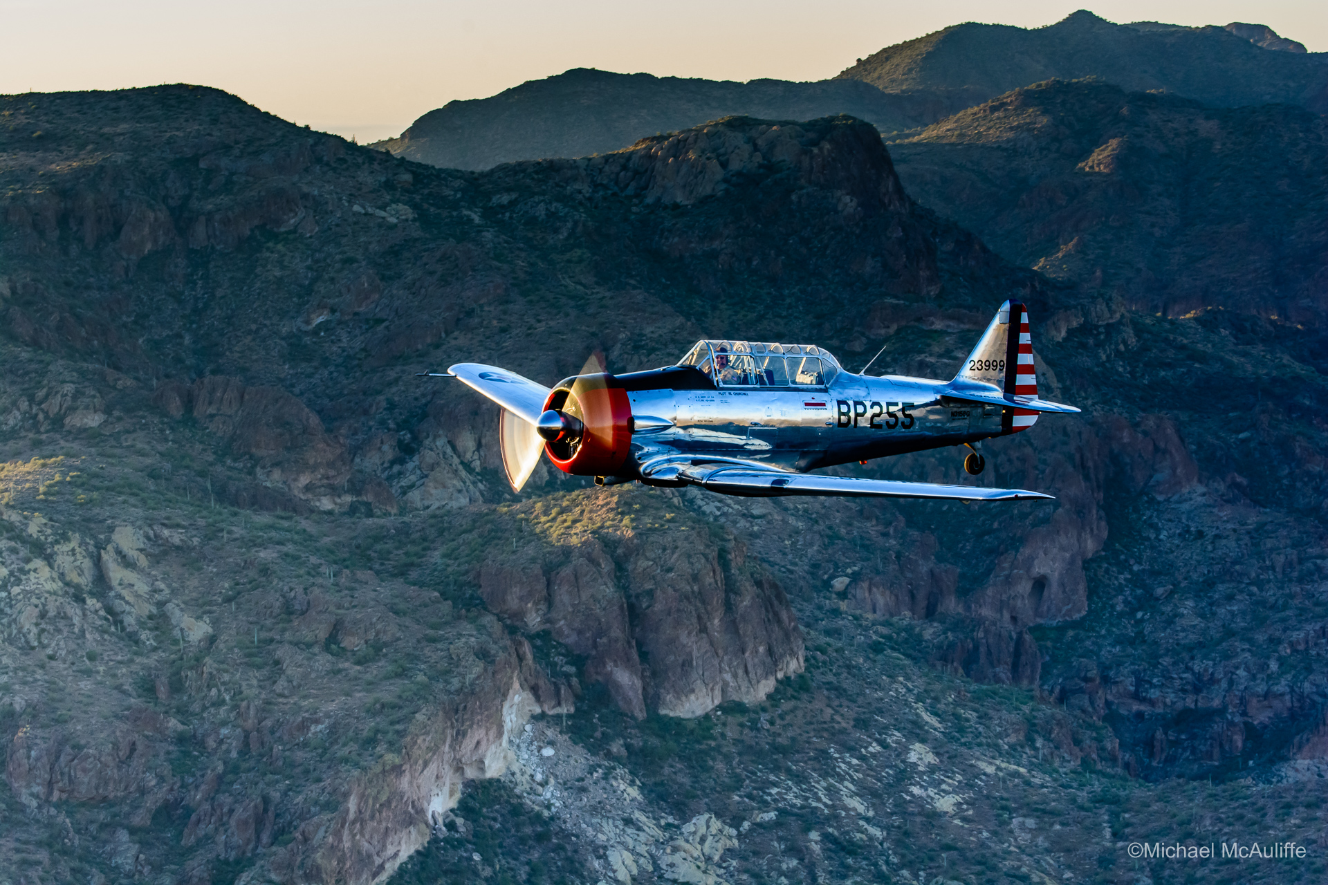 "North American AT-6 Texan ""Advanced"" trainer flying out of Falcon Field in Mesa, Arizona."