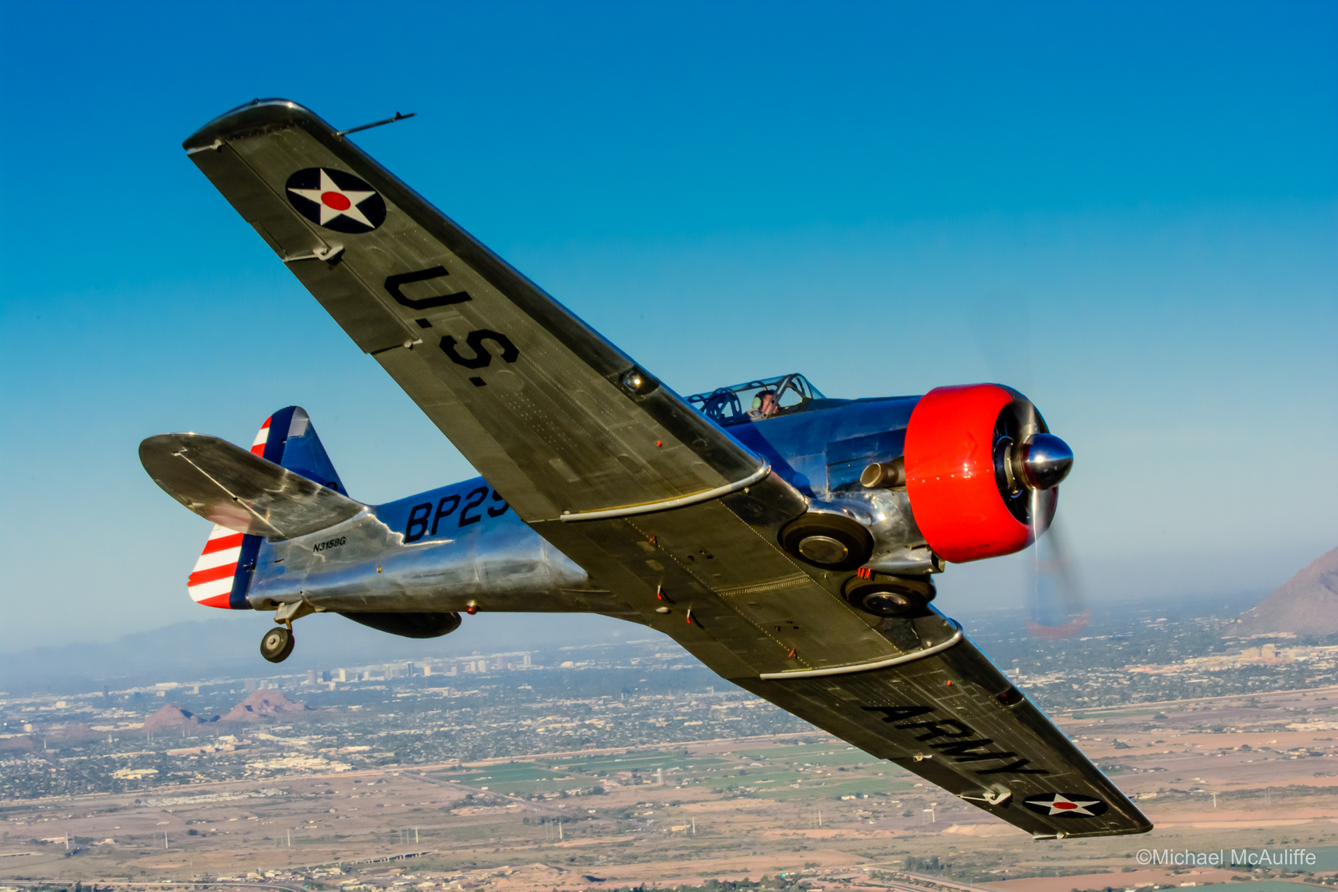 An AT-6 Texan flys near Falcon Field in Mesa, Arizona.