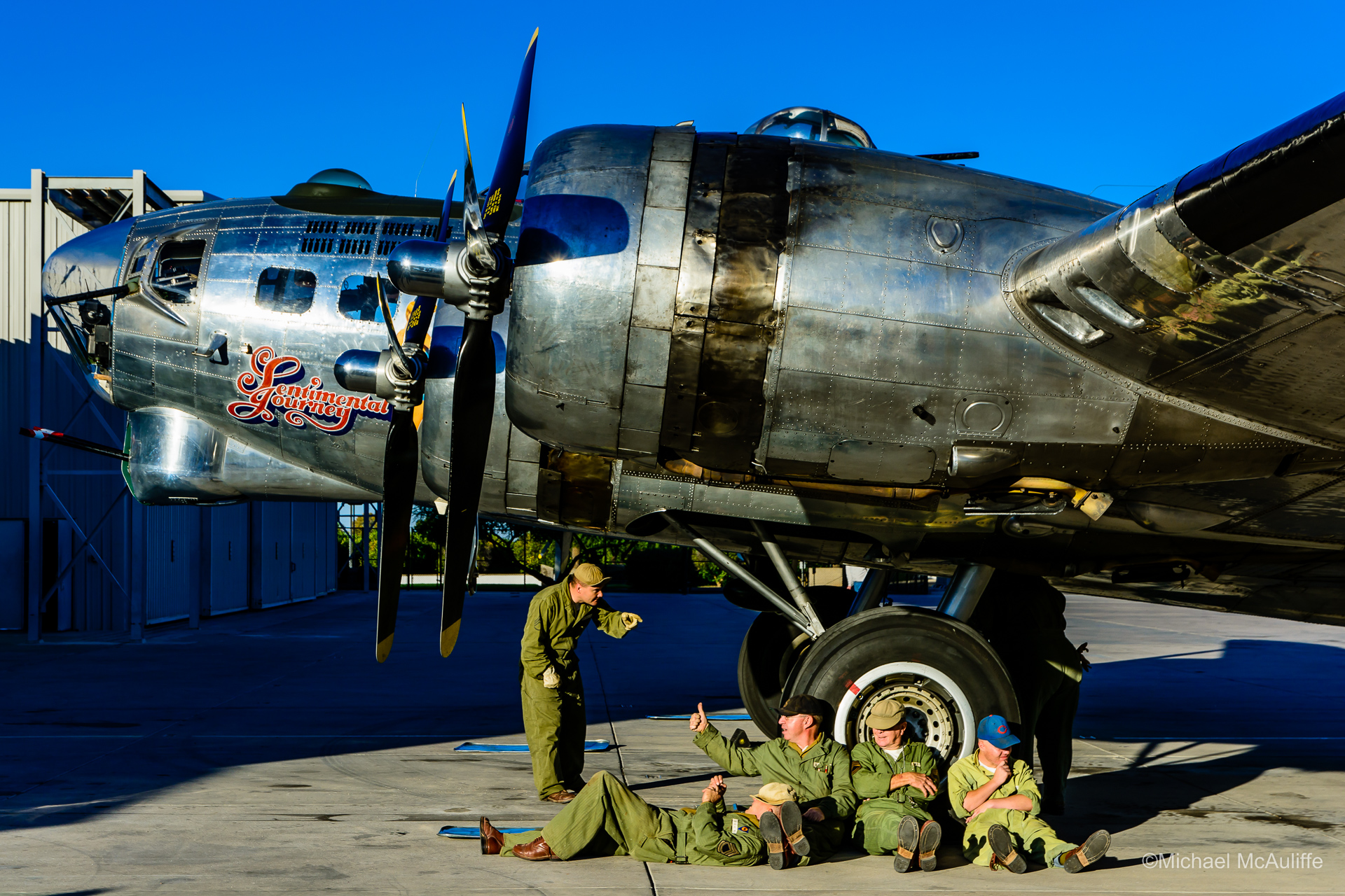 B-17G Sentimental Journey with Arizona Ground Crew Reenactors