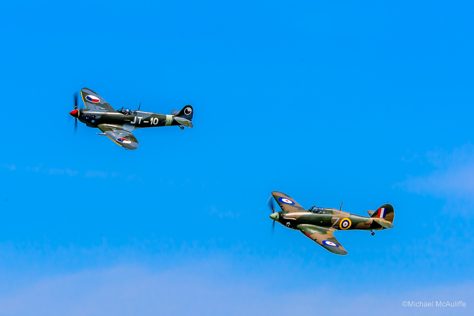 Historic Flight Foundation Spitfire LF Mk.IXe and Flying Heritage Collection Hurricane Mk.XIIA