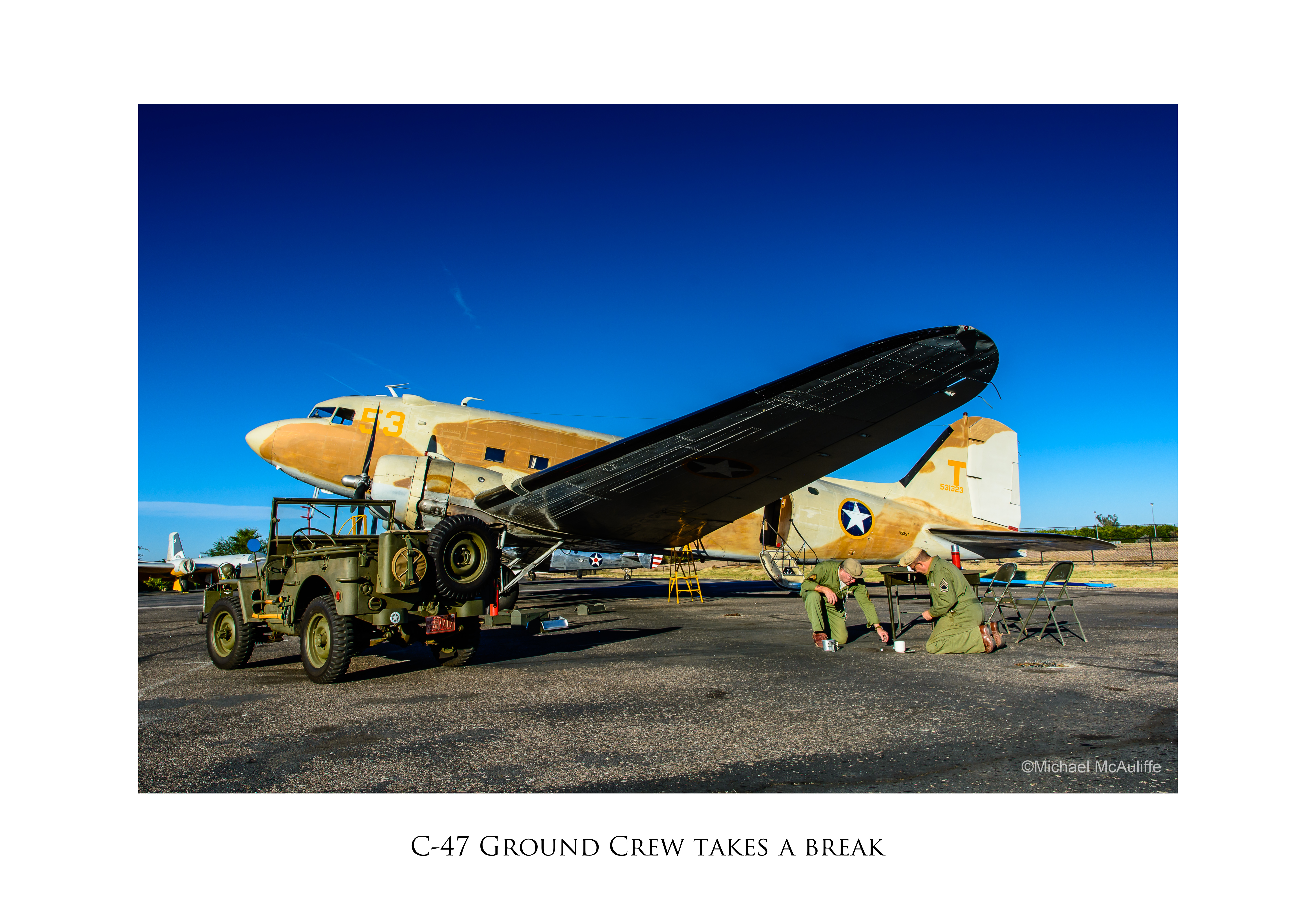 C-47 Skytrain with ground crew (reenactors)