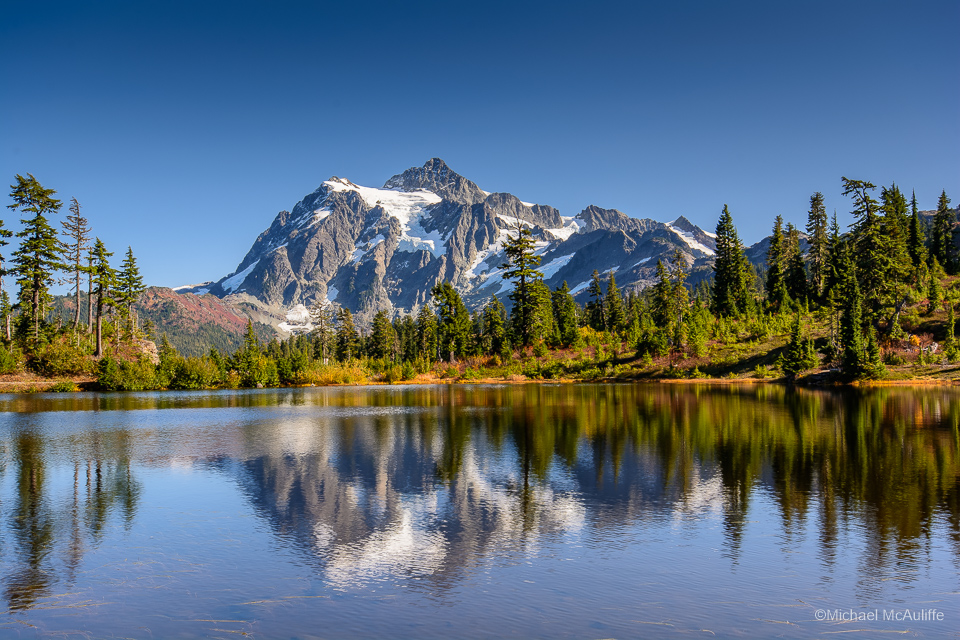 Mt. Shuksan mirrored in Picture Lake.