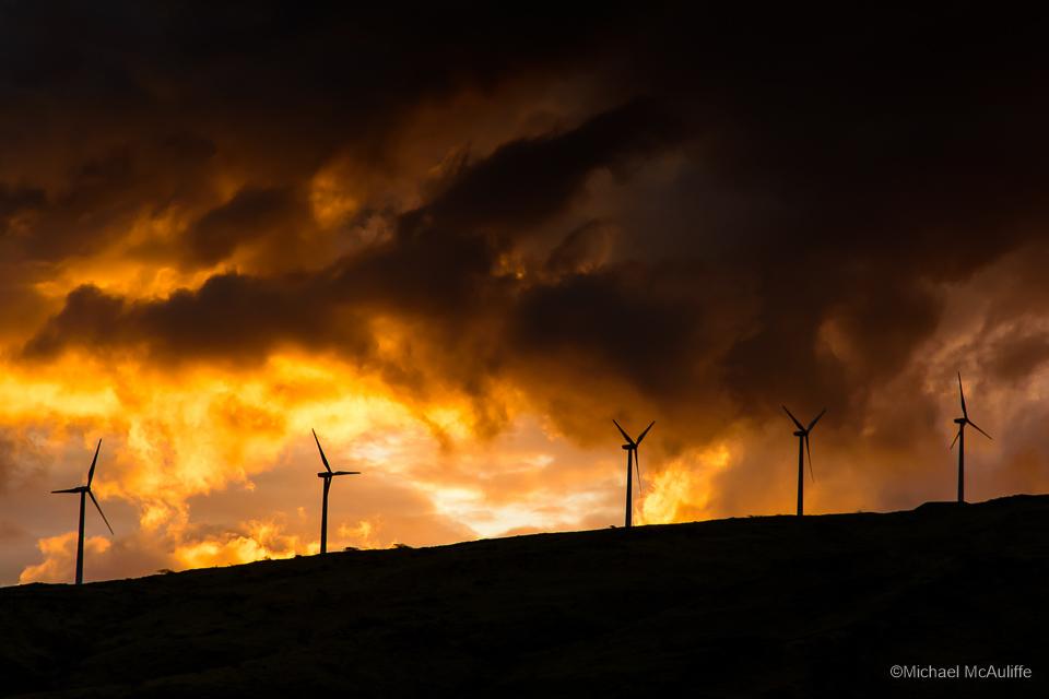 Windmills on Maui, Hawaii, at sunset.