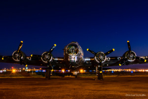 B-17 Flying Fortress Sentimental Journey at dawn.