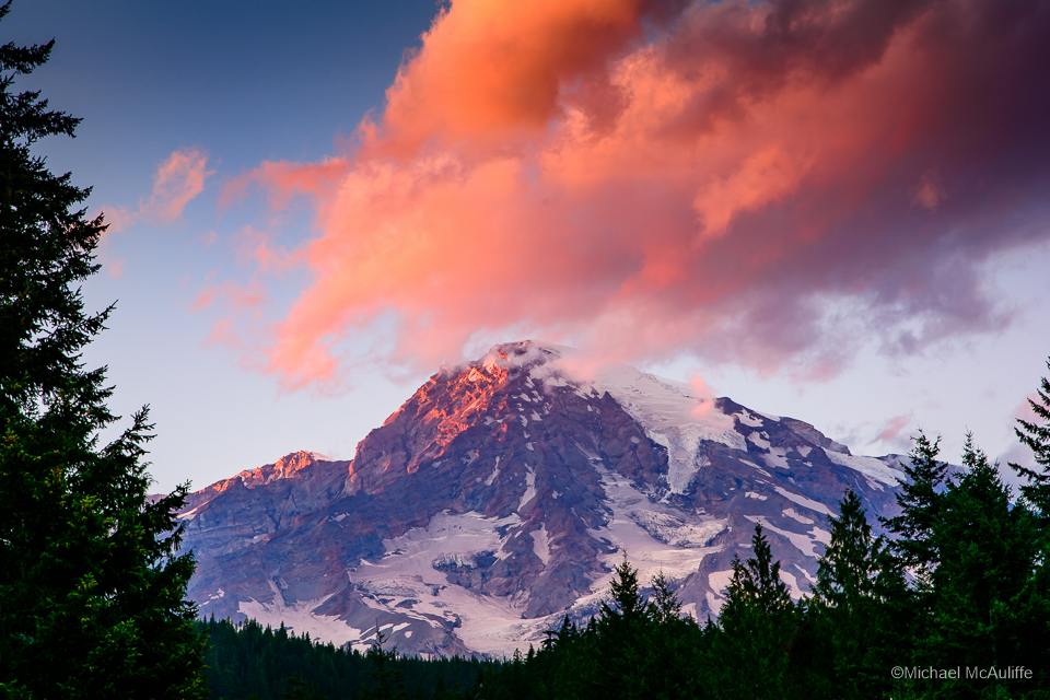 Sunset on Mount Rainier from Longmire.