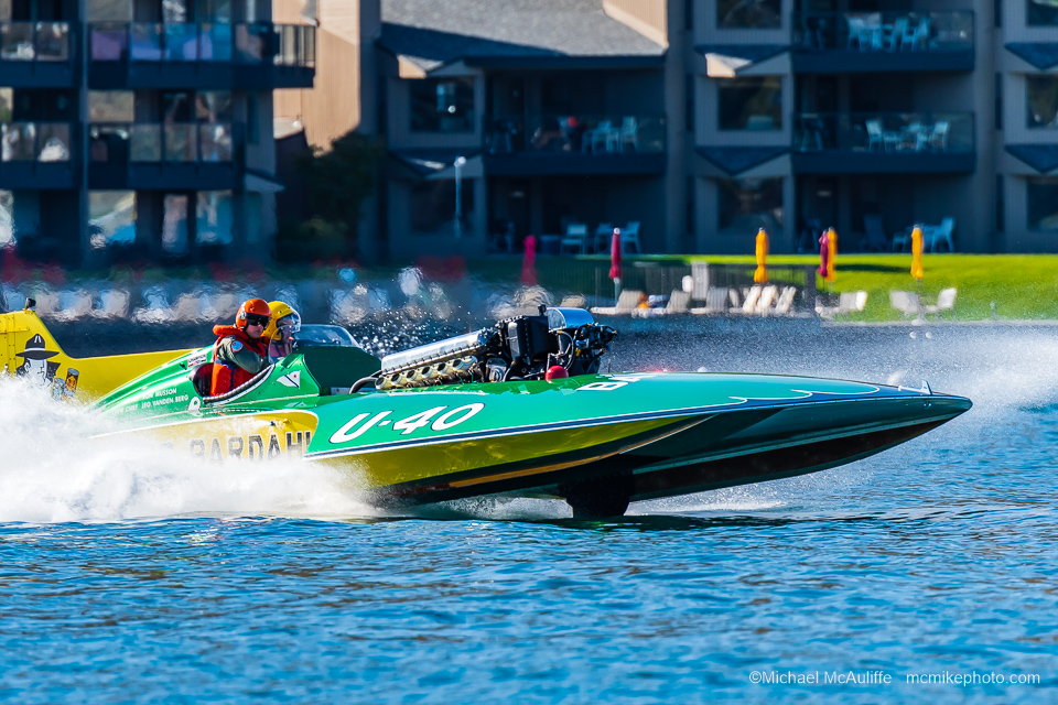 The U-40 Miss Bardahl Hydroplane on Lake Chelan in October 2019 at the Mahogany and Merlot event.