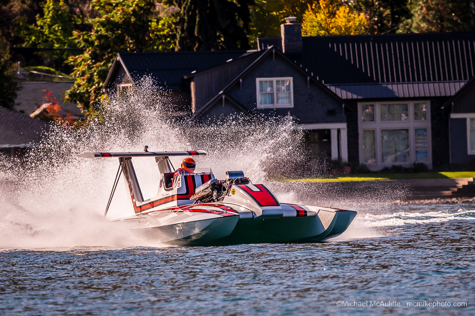 The 1973 U-25 Pay 'N Pak hydroplane on Lake Chelan in October 2019 at the Mahogany and Merlot event.