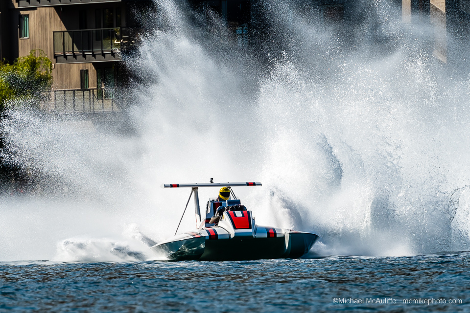 The 1973 Pay 'N Pak unlimited hydroplane on Lake Chelan in October 2019 at the Mahogany and Merlot event.