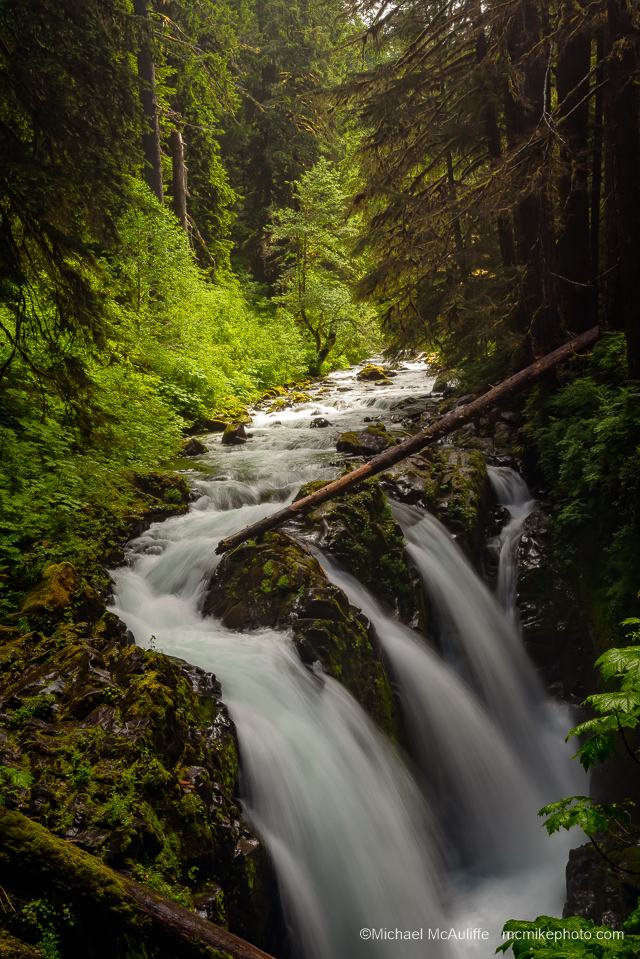 A photograph of Sol Duc Falls In Olympic National Park.